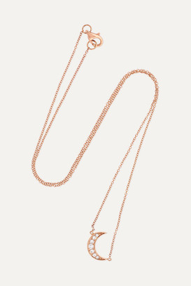 Andrea Fohrman Mini Crescent 18-karat Rose Gold Diamond Necklace - one size