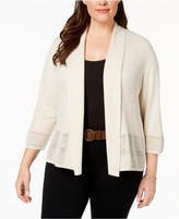 Karen Scott Plus Size Pointelle-Knit Cardigan, Created for Macy's