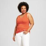 Ava & Viv Women's Plus Size Perfect Tank Orange Stripe