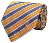 Versace Men's Half Medusa Logo Striped Pattern Silk Neck Tie Orange