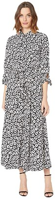 Calvin Klein Long Sleeve Floral Print Shirtdress Maxi (Black/Cream) Women's Dress