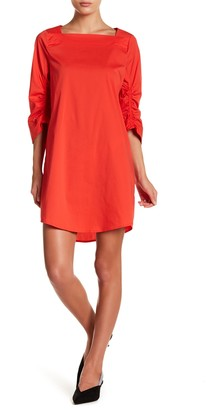 MelloDay Solid Ruche Sleeve Dress