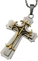 Click 2 View R.H. Jewelry R.h. Jewelry Stainless Steel Men's Cross Pendant, Three Layer Cross Necklace