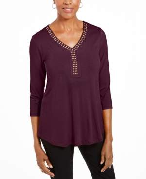 JM Collection 3/4-Sleeve Studded Top, Created For Macy's