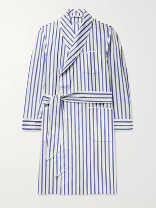 Paul Stuart Piped Striped Cotton-Broadcloth Robe - Men - Blue