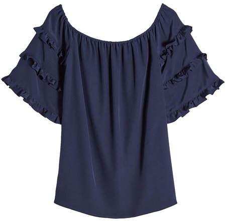 Vanessa Seward Silk Blouse with Ruffled Sleeves