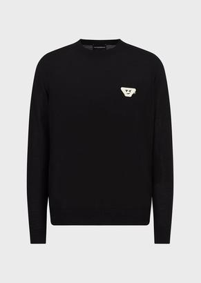 Emporio Armani Virgin Wool Plain-Knit Sweater With Emoji Patch
