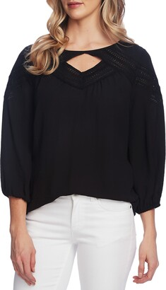 Vince Camuto Keyhole Inset Lace 3/4 Sleeve Top