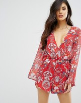 Missguided Floral Print Flare Sleeve Romper