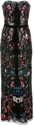 Marchesa floral sequin long dress