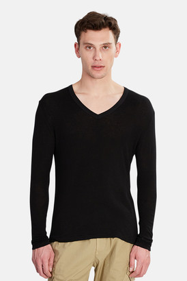 V::room Long Sleeve Double Gauze V Neck