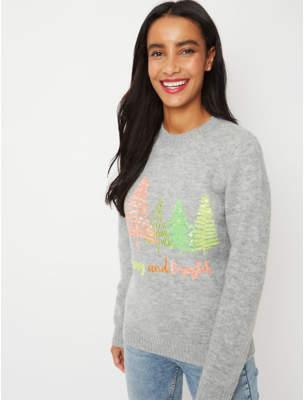 George Grey Neon Sequin Tree Christmas Jumper