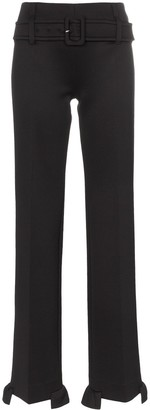 Prada high waisted belted ruffle hem trousers