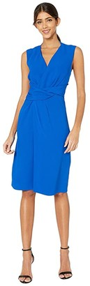 Adam Lippes Crepe V-Neck Dress w/ Draped Waist (Cobalt) Women's Dress