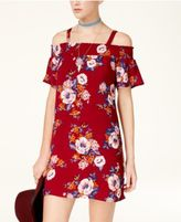 As U Wish Juniors' Printed Cold-Shoulder Shift Dress