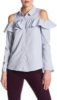 Very J Pinstripe Long Sleeve Ruffle Shirt
