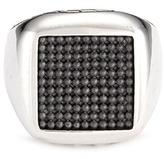 John Hardy Rhodium silver dotted jawan signet ring