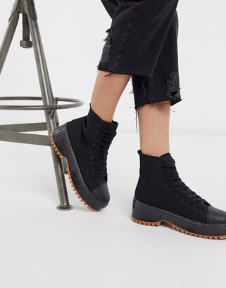 Truffle Collection canvas chunky lace up boot