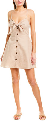 Lerumi Tie-Front Linen-Blend Mini Dress