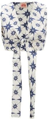 Le Sirenuse Positano Le Sirenuse, Positano - Sonia Cropped Star-print Cotton Top - Blue Print