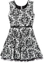 Beautees Sleeveless Belted Damask Dress, Big Girls (7-16)