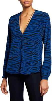 A.L.C. Kirk Zebra-Stripe V-Neck Long-Sleeve Silk Top