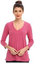 Mod-o-doc Heather Stripe Jersey 3/4 Sleeve V-Neck Tee