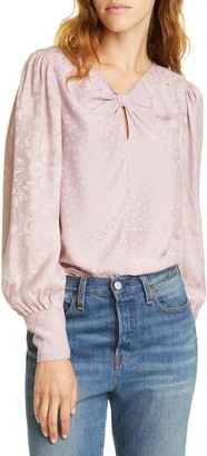 Tailored by Rebecca Taylor Floral Dot Jacquard Silk Blend Top