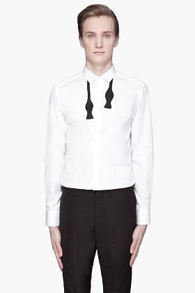 Neil Barrett White bow tie printed shirt