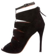 Alaia Suede Peep-Toe Ankle Boots
