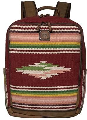 STS Ranchwear Buffalo Girl Serape Backpack (Maroon/Pink/Green) Bags