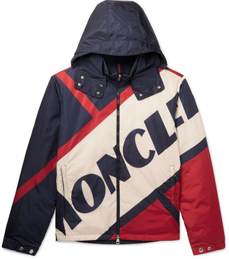 Moncler Slim-Fit Logo-Print Shell Hooded Down Jacket