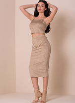 Missy Empire Talitha Stone Suede Crop Top and Skirt Co-ord