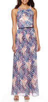 Donna Ricco Sleeveless Geo Print Chiffon Maxi Dress