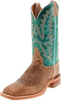 """Justin Boots Women's U.S.A. Bent Rail Collection 11"""" Boot Wide Square Double Stitch Toe Leather Outsole,Burnished Tan,Black Tan """"America""""/Turquoise Ponteggio Calf"""