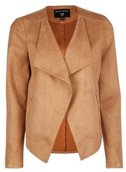 Dorothy Perkins Womens Tan Suedette Waterfall Jacket