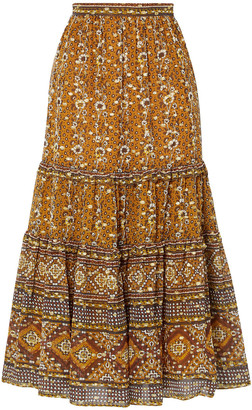 Ulla Johnson Thea Printed Fil Coupe Silk And Lurex-blend Midi Skirt