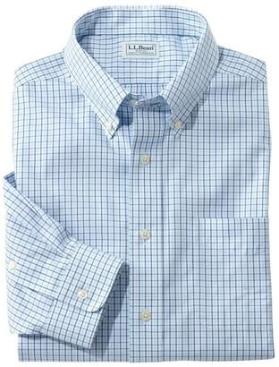 L.L. Bean L.L.Bean Men's Wrinkle-Free Pinpoint Oxford Shirt, Long-Sleeve Slim Fit Tattersall