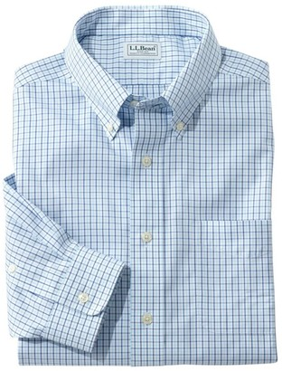 L.L. Bean Men's Wrinkle-Free Pinpoint Oxford Shirt, Long-Sleeve Slim Fit Tattersall