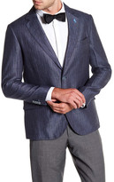 Tailorbyrd Navy Herringbone Two Button Notch Lapel Linen Sport Coat