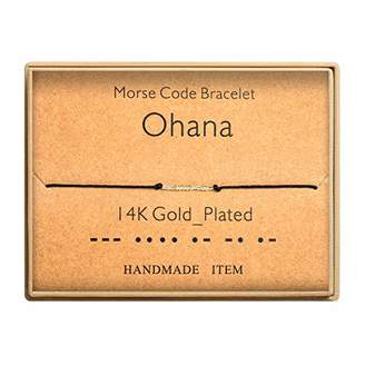 Morse Code Bracelet 14k Gold Plated Beads on Silk Cord Secret Message Ohana Gifts Bracelet Gift Jewelry for her