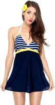 Simplicity Women Lady Classic Navy Stripe Design One Piece Swimsuit, XL