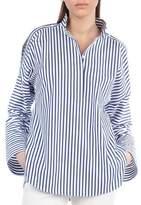 Akris Punto Striped Button-Shoulder Cotton Blouse