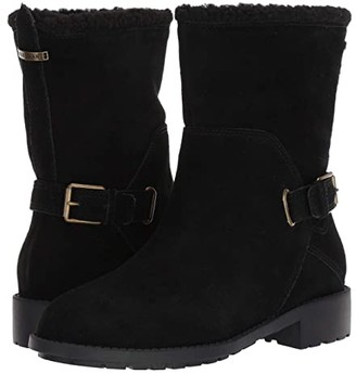 Cole Haan Quiana Bootie Waterproof (Black Suede/Black Shearling/Black/Antique Brass) Women's Pull-on Boots