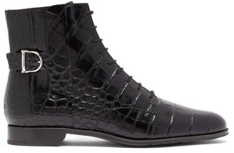 Tod's Buckled Crocodile-effect Leather Ankle Boots - Womens - Black