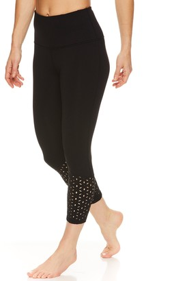 Gaiam Women's Om Cora High-Waisted Laser-Cut Capri Leggings