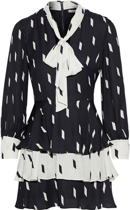 Alice + Olivia Dasha Pussy-bow Tiered Printed Crepe Mini Dress