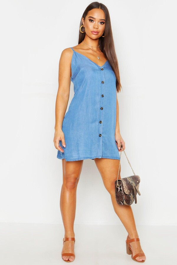 Thumbnail for your product : boohoo Denim Chambray Button Through Slip Dress