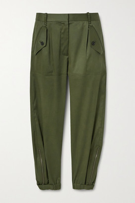 Nili Lotan Arliss Cropped Lyocell-blend Twill Tapered Pants - Army green