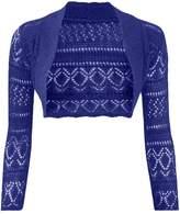 Thever Women Long Sleeve Knitted Crochet Shrug Bolero Cardigan Ladies Crop Top